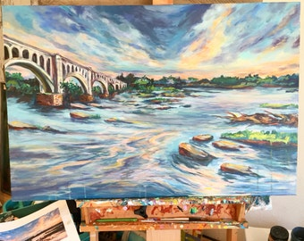 Capitalizing- a large original of the James River in Richmond Virginia , contemporary landscape