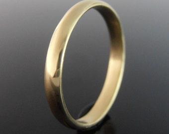 Half Round 18k Gold Band Ring, 18k Gold Ring, 18k Gold Wedding Ring, 18k Gold Wedding Band, Polished Finish