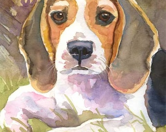 Beagle Art Print of Original Watercolor Painting - 8x10 Dog Art