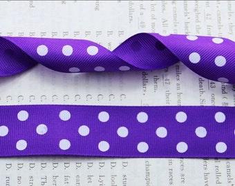 "1"" Purple and White Polka Dot Ribbon by the Yard  AD22"