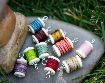Handmade Lampwork Glass Spool Pendant for a Necklace SRA