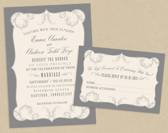 Printable Wedding Invite and RSVP Invitation Set Vintage Poster Style  - Flourished - Grays