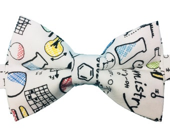 Men's Bow Tie, Bow Tie for Men, Science Bow Tie, Physics Chemistry Biology Bow Tie, White Bow Tie