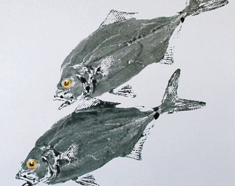 GYOTAKU fish Rubbing Two Salt Water Jacks 8.5 X 11 Fisherman Gift quality Art Print by artist Barry Singer