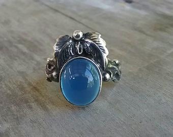 Blue chalcedony, leaf ring, sterling silver,handmade, steampunk,gothic, art nouveau, victorian,vintage,boho,designer ,gypsy,tribal,filigree,