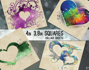 Valentine's Day Digital Collage Sheet Hearts Four Types 3.8 and 4x4 Inch Square Images for Coasters Scrapbooking Magnets JPG C0032