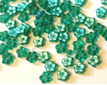 35 Glass flowers beads, blue green, Czech, 5mm, NEW