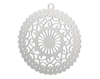Set of 10 prints charm filigree silver 38x21mm steel SC62677