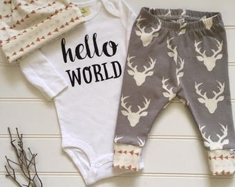 NEW! Oh Deer/Newborn Outfit/Bring Home Outfit/Taupe/Toddler Leggings