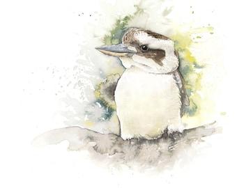 Original Watercolour Painting of a Laughing Kookaburra
