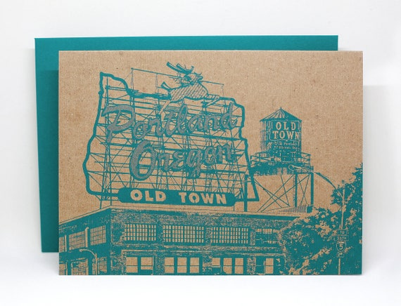 Portland, Oregon Sign Notecard // White Stag Sign Greeting Card // Collage // Single card or a set of 6