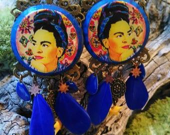 Frida Kahlo Bohemian chic feather earrings