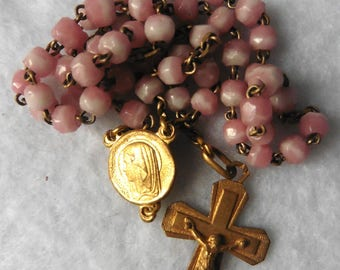 Antique French Catholic Crucifix Pink Glass Chapelet Rosary, Virgin, Jesus, Christ, Mary, Religious, Cross, chaplet, Communion, Baptism