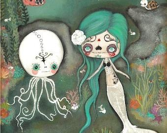 Day Of The Dead Print Cute Dead Zombie mermaid Octopus Skeleton Wall Art