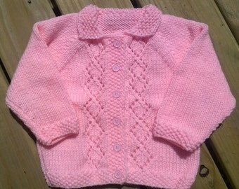 Pink Girl's Cardigan with Diamond Lace Detail