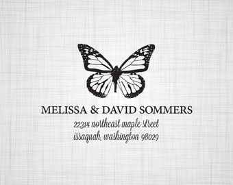 Butterfly Personalized Return Address Stamp, Wedding Return Address Stamp, Custom Address Stamp, Self Inking Stamp, Rubber Stamper