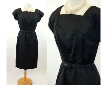 1950s silk dress black silk faille angle pleated waist square neckline Size L