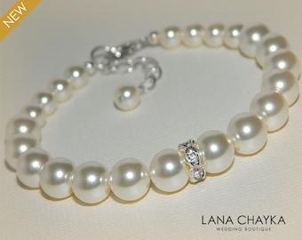 Wedding Ivory Pearl Bracelet Swarovski Pearl One Strand Bracelet Bridal Pearl Bracelet Wedding Jewelry Bridal Pearl Bracelet Bridal Jewelry