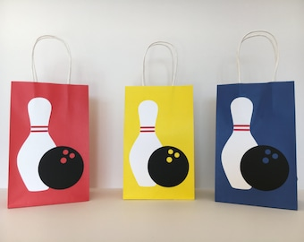 Bowling Party - Paper Goodie Bags - Favor Bags - Set of 10 bags