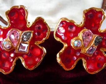 vintage Christian Lacroix Bijoux clip earrings | enameled glass gold tone | Paris statement jewelry | gripoix bijoux | French couture runway