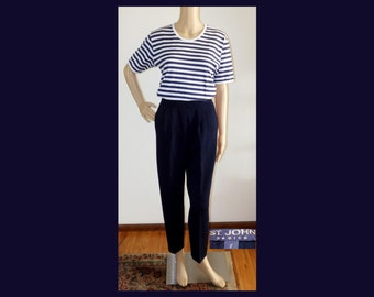 Navy ST JOHN Marie Gray Santana Knit Basics Blue Pants~Pockets~Wool/Rayon~Pleated Front~Tapered Leg~Size 2~XS~Mint Vintage~Nautical~Classic