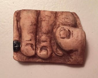 hand fist polymer clay face cabochon finding art doll parts jewelry or altered arts fingers black nail polish