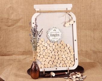 Mason jar Wedding guest book alternative Wedding guestbook Wedding guest book Wooden guestbook Guestbook ideas Custom guestbook  Mason Jar