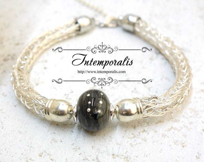 Lampwork and viking knit bracelet, black and grey with silver dots, OOAK, SABRLWVI03