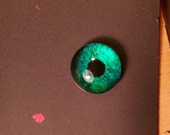 G024N Glass Eye Cabochon, handpainted on clear domed fused glass,(bright emerald green), lightfast, natural pupil. Bird, fantasy. Single eye