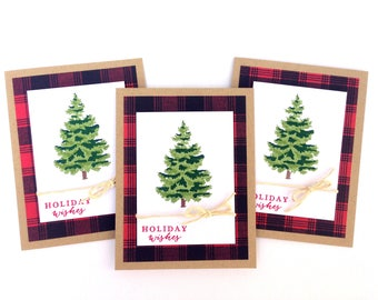 Holiday Card Set - Christmas Tree Cards - Handmade Christmas Cards - Stamped Christmas Card Set, Merry Christmas Boxed Cards, Holiday Wishes