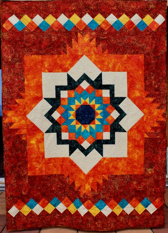 Southwest Quilt Pattern Santa Fe Sunburst Throw Size 58 X