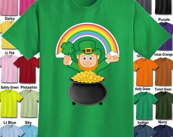 Leprechaun Shamrock Pot of Gold Rainbow T-Shirt - Adult Unisex - We carry sizes S - 5XL in 30 Colors!