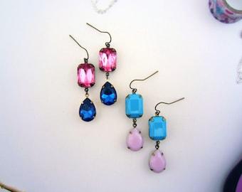 Rhinestone drop earrings. Turquoise earrings. Blue gemstone earrings. Pink gemstone. Pink drop earrings. Blue and pink earrings.