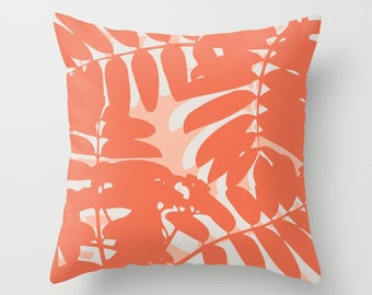 Coral Throw Pillow, Coral Pillow Cover, Palm tree leaf pillow, leaves pillow, botanical pillow, modern leaved pillow