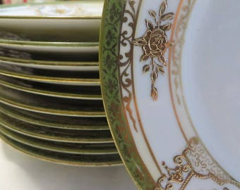 """Noritake Bread and Butter Plates 11 Count  //  Pattern Marked """"M"""" Hand Painted Made in Japan  //  Gold and Green on White  //  Small Plates"""