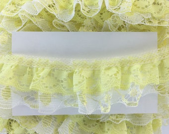 3.3 yards Yellow White Double Ruffled Lace Sewing Trim