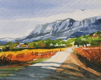 Landscape ORIGINAL Miniature Watercolour Mountain Road mountains hills ACEO For him, For her, Home Decor, Wall Art, Gift Idea, Free Shipping