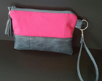Gray Hot Pink Wristlet - Wristlet Wallet - Womens Wallet - Faux Leather - Small Crossbody - Phone Wallet - Wristlet Purse - Bridesmaid Gift