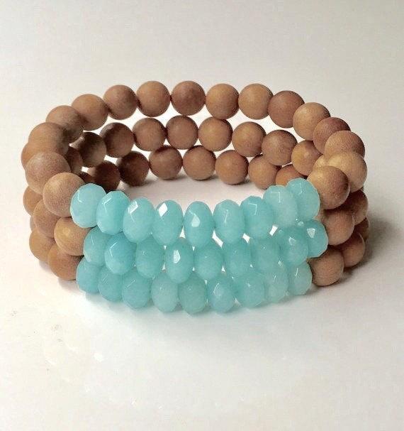sandalwood bracelet, yoga jewelry, gift for her, boho bracelet