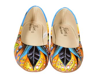 Hand Painted Genuine Leather Ballerinas - Whistling Waves
