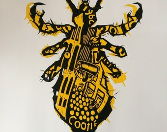 Linopress/linocut/linoprint/woodcut and handprinted 'Cootie'