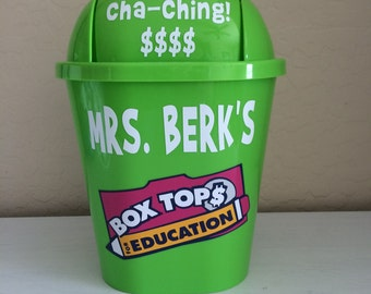 Box Tops container,Teacher appreciation,First day of school,box tops classroom storage,box tops storage,box tops school fundraiser,small bin