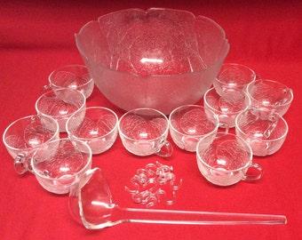 Arcoroc Luminarc France Aspen Clear Glass Punch Bowl Set For Twelve 26 Piece Set