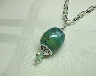 Modern Lampwork Bead Pendant Necklace in Turquoise and Green