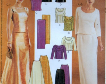 Evening Wear Tops Skirts and Stole Sewing pattern 3 sizes medium McCalls 3436