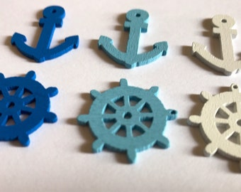 6 marine themes wooden buttons
