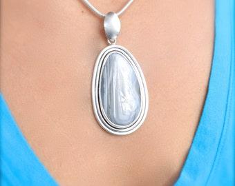 Black & White Sierra Madre Agate Pendant // Agate Jewelry // Sterling Silver // Village Silversmith