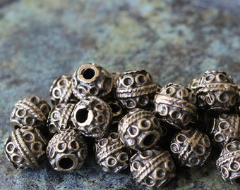 Mykonos Beads Round Bali Style 5mm Round Beads - Jewelry Making Supply - Antique Brass - Made In Greece - Boho Beads - Choose Amount