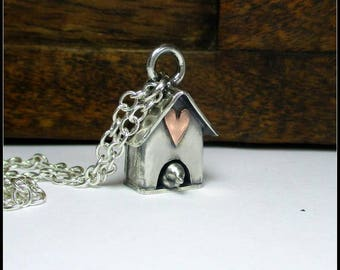 Silver Bird House Whimsical Necklace