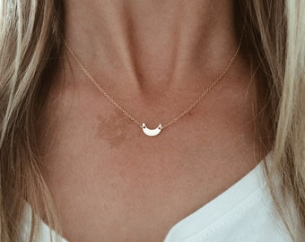 Crescent Moon Necklace in 14/20 Gold-fill, 14/20 Rose Gold-fill or Sterling Silver